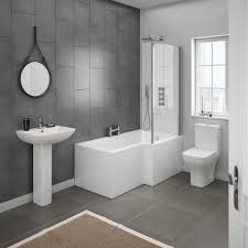 Modern bathroom shower ideas Bathroom Tile Milan Contemporary Bathroom Suite With Shaped Shower Bath Contemporary Bathroom Ideas Victorian Plumbing Contemporary Bathroom Ideas Victorian Plumbing