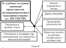 Особенности допроса несовершеннолетнего Право России  В судебном заседании законный представитель несовершеннолетнего подсудимого вправе