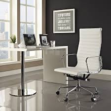 office chair genuine leather white. Amazon.com: Modway Ribbed High Back Office Chair In White Genuine Leather: Kitchen \u0026 Dining Leather C