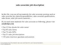 Sales Associate Qualifications Sales Associate