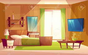 set dresser vector cartoon interior of cozy modern bedroom living room with
