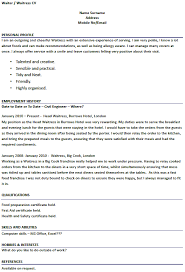 waitressing cv waitress cv examples under fontanacountryinn com