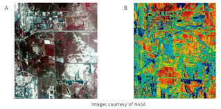 urban heat island images of salt lake city utah show positive correlation between white reflective roofs and cooler temperatures image a depicts an aerial view of salt