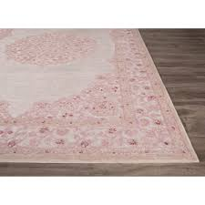 classic medallion pattern ivory u0026 pink rayon chenille area rug