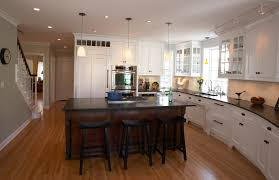 Modern White Kitchen Dark Floor Style And Traditional Materials Collide In This Broad Intended Design