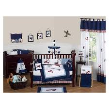 kids and family baby care red white and blue vintage aviator airplane baby bedding 11 pc crib set