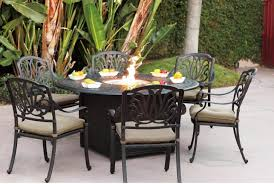 black wrought iron patio furniture with large round patio umbrella and 6 person patio chairs