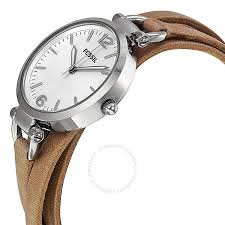 fossil georgia silver dial sand leather las watch es3197