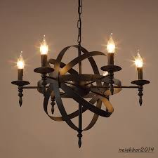 modern black iron chandelier globe pendant light ceiling lamp led lighting