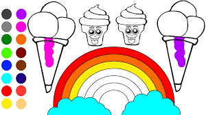 Rainbow And Ce Cream Coloring Games L Coloring Book Learn Colors