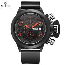 online get cheap elegant mens watch aliexpress com alibaba group megir elegant classic black men s watch classical art carved craft design precision time chronograph men sport