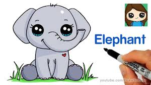 cute easy animal drawings step by step. Modren Easy How To Draw An Elephant Easy So Cute Inside Easy Animal Drawings Step By A