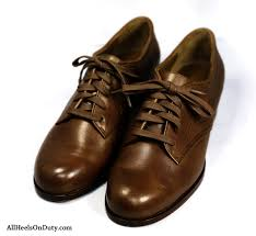 cordovan brown leather womens tie up service oxfords