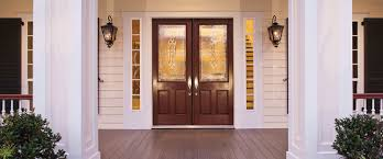 single entry doors with glass. Therma Tru Fiberglass Entry Door Exterior Doors Cherrywood Double Front With Patterned Single Glass
