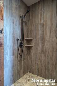 wood tile shower shower stall with wood like tile that has a rustic yet modern feel