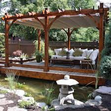 wooden gazebo with retractable canopy