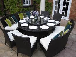 garden dining table with benches. madrid grey rattan garden or conservatory 10 seat round dining furniture set: amazon.co.uk: kitchen \u0026 home table with benches