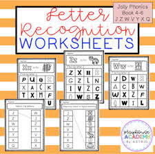 Split into 7 groups, the worksheets contain all 42 letter sounds. Letter Recognition Worksheets Jolly Phonics Book 4 6 By Playhouse Academy