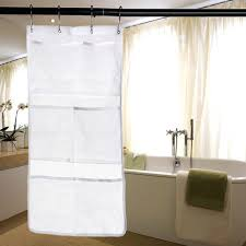 white 6 pockets shower hanging mesh organizer with 4 metal buckles for home bathroom space save