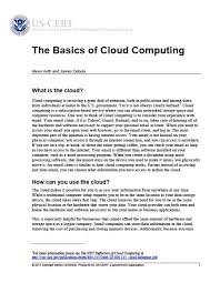Primary Author: The Basics of Cloud Computing -