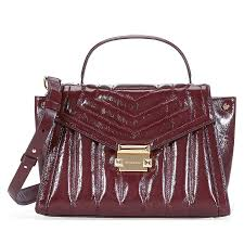 michael kors whitney medium quilted leather satchel oxblood item no 30f8gxis6t 610