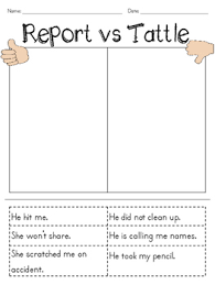 Reporting Vs Tattling Worksheets Teaching Resources Tpt