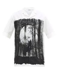 Valentino Mens Shirt Size Chart Night Wolf Print Cotton Bowling Shirt Valentino