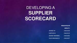 Developing A Supplier Scorecard Term Paper