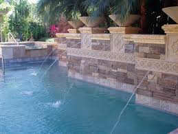 water pool it is not recommended to use soft stones such as travertine for your waterline tile because they are porous which makes them especially