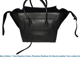 best céline 7 star replica cabas phantom medium on black leather tote celine trio bag