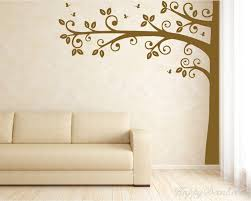 tall half tree with leaves and erflies wall decal