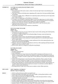 Factory Manager Resume Samples Velvet Jobs
