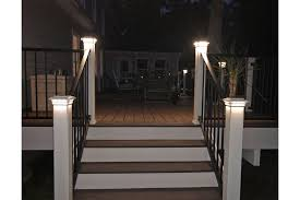 Trex Deck Post Cap Lighting 4 1 2 In X 4 1 2 In Solar Post Cap Light For Trex Classic White 3 Led Colors