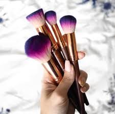 beautiful makeup brushes. 1. this purple ombre set with wooden handles and gold accents. beautiful makeup brushes n