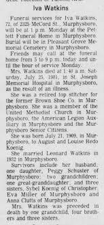Great Aunt Iva Watkins Obituary - Newspapers.com