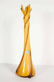 midcentury modern twisted spiral amber murano glass vase at stdibs