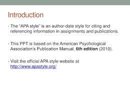 Referencing Apa Citation Style Ppt Download