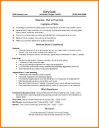 Cook Resume Skills Sample Line Lead Examples 2017 W Sevte