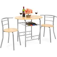 best choice s 3 piece wooden kitchen dining room round table and chairs set w built in wine rack natural