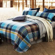 navy blue white gold aqua and brown scottish tartan country plaid print masculine full size bedding sets