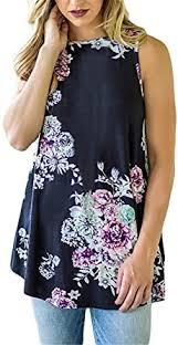 KemissLan Women's Printed <b>Round Neck Sleeveless Vest</b> Loose ...