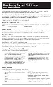 These forms should be filled correctly and accurately giving all the necessary information required for the purpose of availing benefits and exemptions. Free New Jersey Sick Leave Labor Law Poster 2021