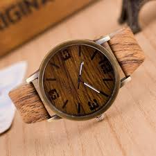 men watches quartz simulation wooden pu leather strap watch wood grain male wrisch clock with battery support drop latest watches trendy