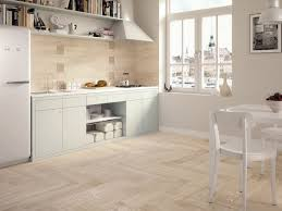 image of light wooden tiled kitchen splashback and floor wood floor tiles white