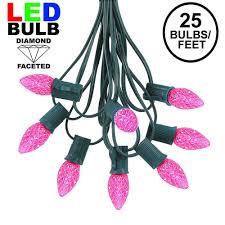 Pink Led Outdoor Lights Pink Led C7 Outdoor String Light Set On Green Wire Novelty