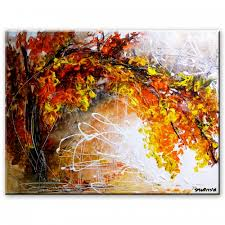 abstract painting of an tree in fall season by peter dranitsin shared memories