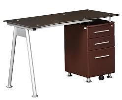 techni mobili stylish tempered glass top computer desk with storage rta 1565