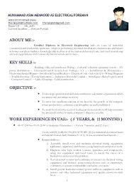 Electrician Resume Sample Sample Resume For Electrical Technician