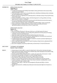 Operations Analyst Resume Sample Samples Velvet Jobs Resumes Credit