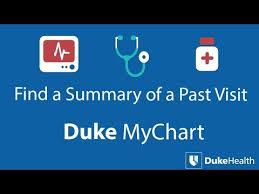 View Past Visit Summaries With Duke Mychart